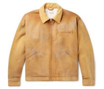Suede-trimmed Cotton-canvas Blouson Jacket - Beige