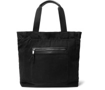 City Leather-trimmed Canvas Tote Bag - Black