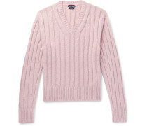 Slim-fit Ribbed Wool-blend Sweater - Pink