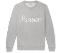 Printed Mélange Loopback Cotton-jersey Sweatshirt - Gray