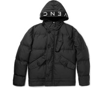 Logo-trimmed Quilted Shell Hooded Jacket