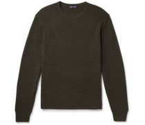Waffle-knit Merino Wool And Cashmere-blend Sweater - Army green