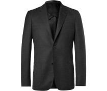 Grey Unstructured Worsted Wool Blazer