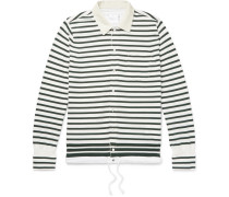 Shell-trimmed Striped Cotton Cardigan