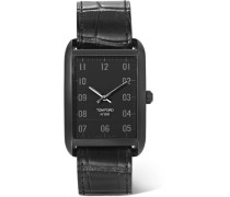 Stainless Steel And Alligator Watch - Black