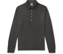 Watercolour-Dyed Cotton and Cashmere-Blend Polo Shirt