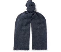 Fringed Linen, Cashmere And Wool-blend Scarf - Navy