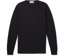 1 Singular Slim-fit Honeycomb-knit Merino Wool Sweater - Navy