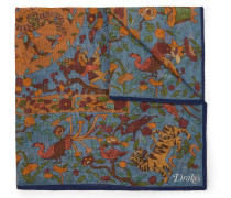 Printed Wool And Silk-blend Pocket Square - Blue