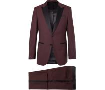 Burgundy Slim-fit Silk Satin-trimmed Virgin Wool Tuxedo
