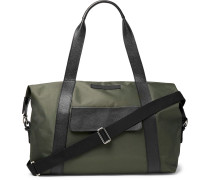 Full-Grain Leather-Trimmed Canvas Duffle Bag