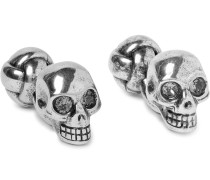 Skull Silver-tone Crystal Cufflinks