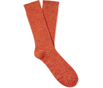 Mélange Ribbed Cotton-Blend Socks