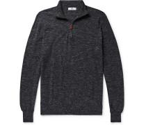 Mélange Wool and Linen-Blend Half-Zip Sweater