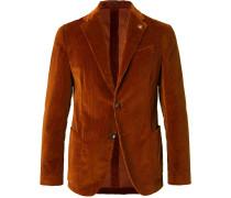 Chestnut Slim-fit Unstructured Stretch-cotton Corduroy Blazer - Brown