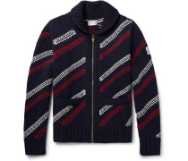 Jacquard-knit Wool Zip-up Cardigan