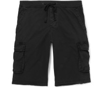 Stretch-cotton Drawstring Cargo Shorts - Black