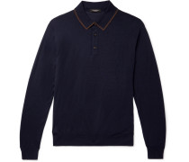 Leggerissimo Contrast-tipped Wool And Silk-blend Polo Shirt - Navy