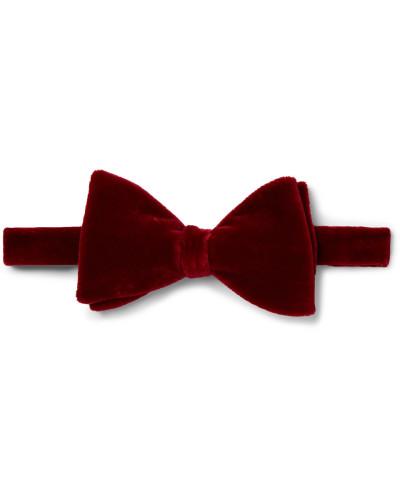 Pre-tied Cotton-velvet Bow Tie - Red