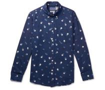 Slim-fit Button-down Collar Polka-dot Cotton-twill Shirt - Indigo