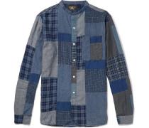 Grandad-collar Patchwork Cotton-blend Shirt