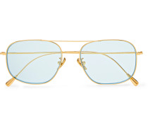 Aviator-Style Gold-Plated Sunglasses