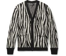 Zebra-jacquard Cashmere And Wool-blend Cardigan - Black