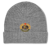 Logo-embroidered Ribbed Wool-blend Beanie - Gray