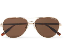 Aviator-style Gold-tone Polarised Sunglasses - Gold