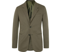 Olive Slim-fit Stretch-cotton Twill Suit Jacket - Green