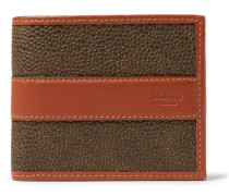 Leather-trimmed Pebble-grain Coated-canvas Billfold Wallet