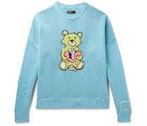 Oversized Appliquéd Cotton-blend Sweater - Light blue