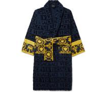 Logo-jacquard Panelled Cotton-terry Robe - Navy