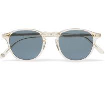 Hampton 46 Round-frame Acetate Polarised Sunglasses - Clear