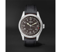 Big Crown Pointer Date Automatic 40mm Stainless Steel And Leather Watch - Black