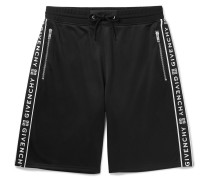 Logo-jacquard Tech-jersey Drawstring Shorts - Black