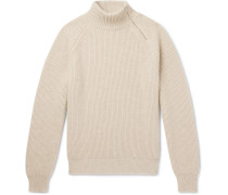 Zip-detailed Ribbed Cashmere Mock-neck Sweater - Beige