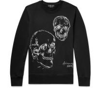 Embroidered Loopback Cotton-jersey Sweatshirt - Black