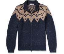 Fair Isle Virgin Wool-blend Zip-up Cardigan - Navy
