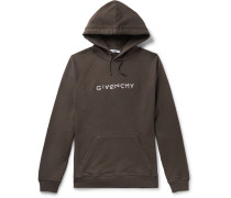 Logo-emboidered Loopback Cotton-jersey Hoodie - Charcoal