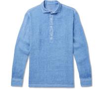 Garment-dyed Slub Linen Half-placket Shirt