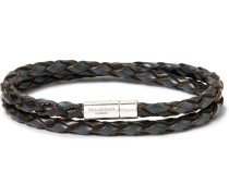 Woven Leather And Sterling Silver Bracelet