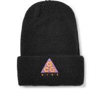 Logo-appliquéd Ribbed Stretch-knit Beanie - Black