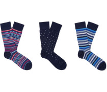 Three-Pack Cotton-Blend Socks