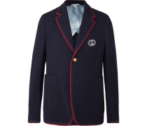 Unstructured Logo-Appliquéd Wool and Cotton-Blend Blazer