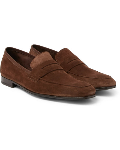 Glynn Suede Penny Loafers - Brown