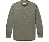 Auguste Slim-Fit Cotton-Poplin Half-Placket Shirt