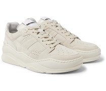 Leather-trimmed Suede Sneakers - Cream