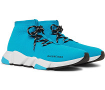 Speed Stretch-knit Sneakers - Light blue