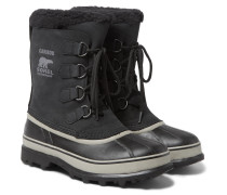 Caribou Faux Shearling-trimmed Waterproof Nubuck And Rubber Snow Boots - Black